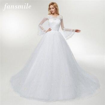 28ac90e11e3 Fansmile аппликация Винтаж кружева платья свадебное платье плюс Размеры  2019 длинным шлейфом подвенечные свадебное турецкое платье FSM-429T