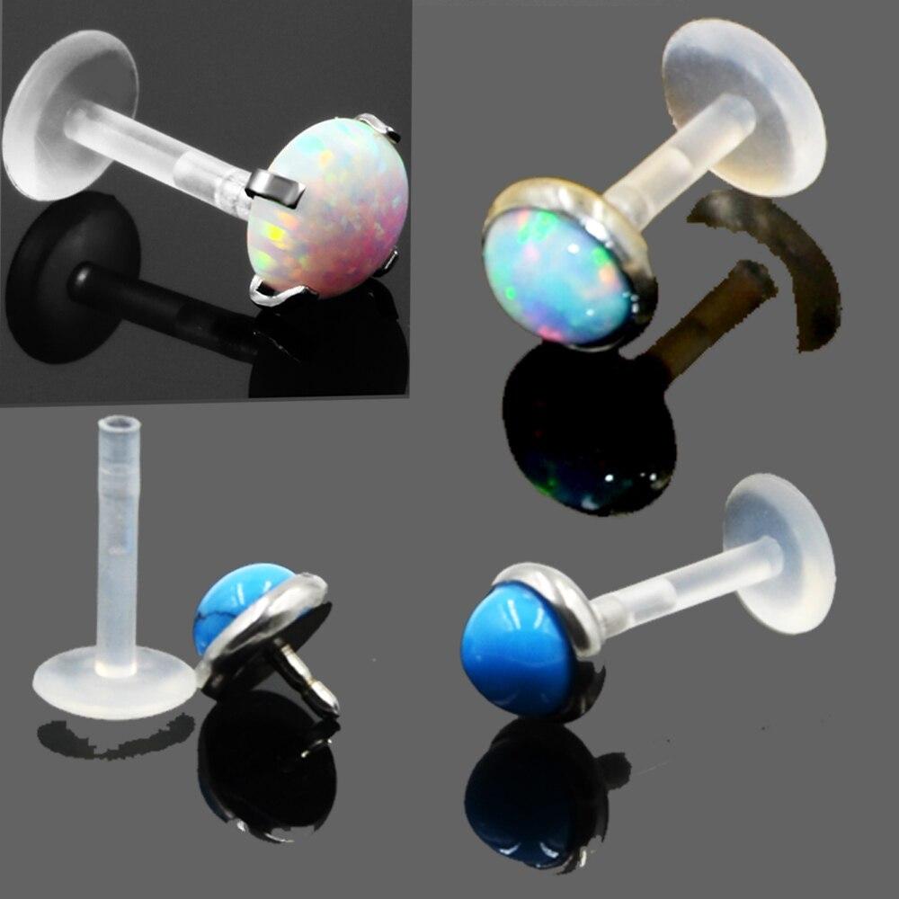 Schuhe 1 Stücke Opal Stein Bio Flexible Monroe Labret Lippenring Drücken Fit Opal Ohrring Knorpel Piercing Schmuck Billigverkauf 50%