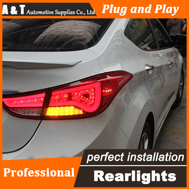 Car Styling LED Tail Lamp for Hyundai Elantra Taillight assembly Design Rear Light DRL+Turn Signal+Brake with hid kit 2pcs.