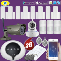 Golden Security 3G WCDMA GSM RFID Home Alarm System Outdoor IP Camera Wireless Security Pet Immune