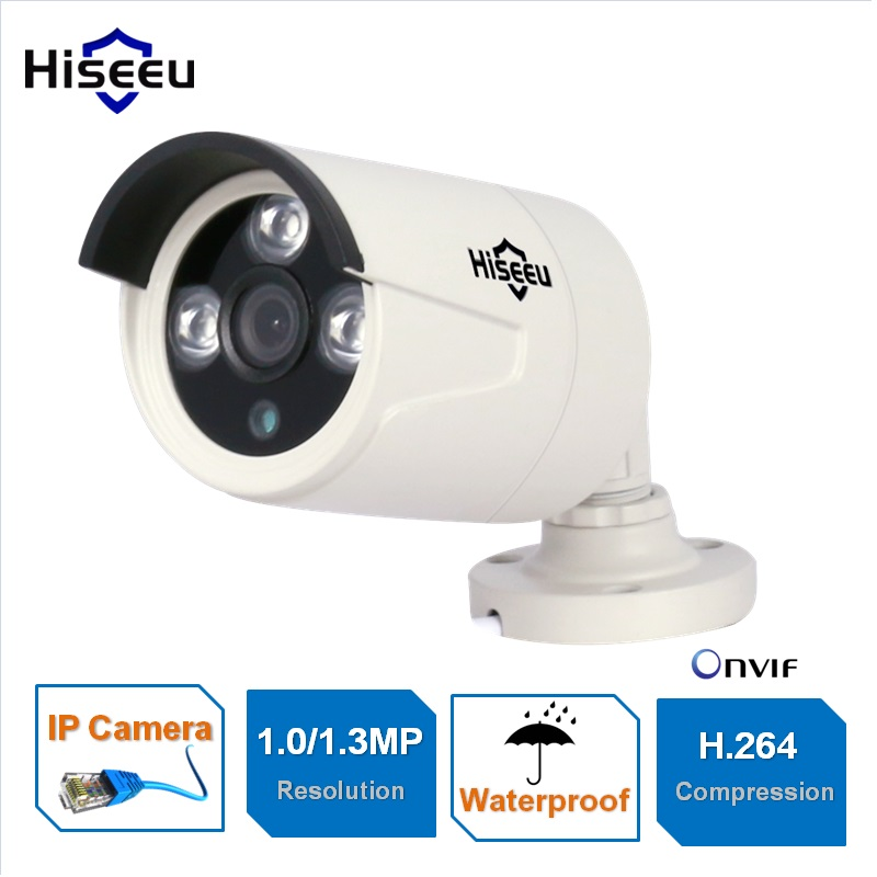 HD 720P 960P 1/1.3MP Mini Bullet IP Camera POE ONVIF Waterproof IP66 Outdoor IR CUT Night Vision P2P Hiseeu hd 1 3mp ip camera ptz bullet 4x zoom 960p hd project night vision outdoor waterproof ircut onvif p2p onvif poe hiseeu