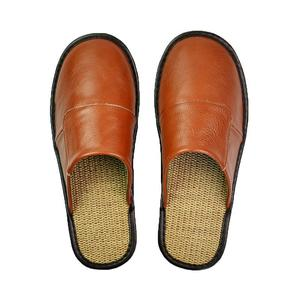 Image 3 - ZOOLIM Men Home Slippers Linen Home Slippers Indoor Bedroom Sandals male Sheepskin Leather Floor Slippers House Shoes