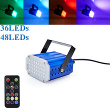 7Colors 36 48 LED DJ Disco Sound Activated Laser Projector Strobe Flash Lumiere RGB Stage Lighting Effect Lamp Music Party Light(China)