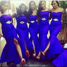 2016 Royal Blue Long Bridesmaid Dresses Sweethert Crystals Front Slit Satin Mermaid Floor Length Champagne Bridesmaid