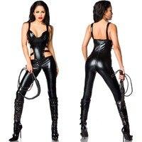 Women PVC Catsuit Catwoman Bodysuit Jumpsuit Fancy Dress party Costume