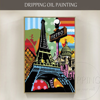 Artist New Design Hand-painted High Quality Street Style Paris Landscape Oil Painting on Canvas Street Paris Oil Painting