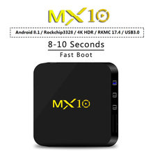 MX10 Smart Android 8,1 caja de TV RK3328 4K VP9 H.265 HDR10 USB3.0 4 GB/32 GB DLNA Miracast wiFi LAN reproductor de medios HD PK X96 mini(China)