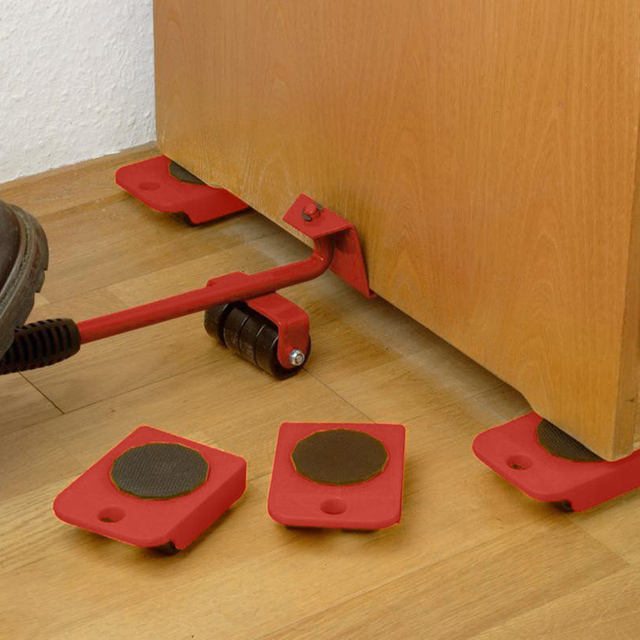 مجموعة أدوات يدوية مجموعة نقل الأثاث 4 بكرة المحرك + 1 عجلة بار الأثاث رافع النقل المنزلية أداة اليد مجموعة