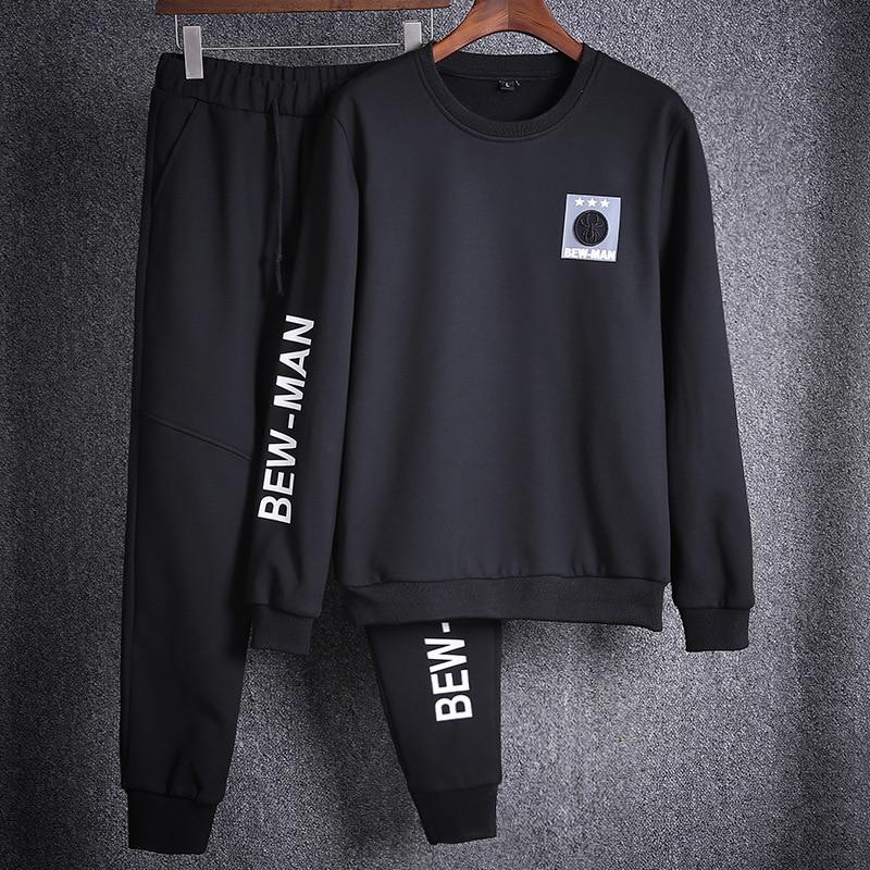 Men's Sets Autumn Winter Casual Men Tracksuit Hoodie+Pants 2 Pieces Set Tracksuits Mens Sets Brand Clothing Plus Size 3XL