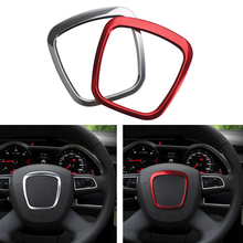 3D Metal Sticker Steering Wheel Ring Cover For Audi A1 A3 A4 A6 C6 B6 A7 Q5 Q7 TT Stickers
