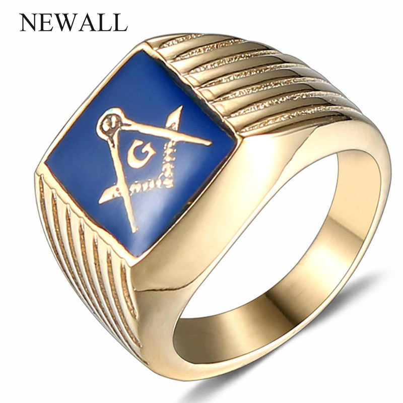 Newall  High Quality stainless steel men Free Masons Symbol ring gold finger  titanium steel freemason ring punk retro male ring