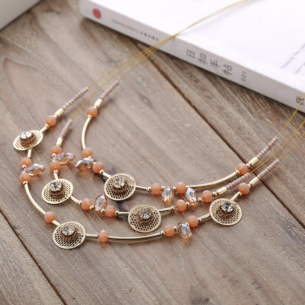Mrs win Wedding Jewelry Bridal Crystal Beads Necklace Multilayer ...