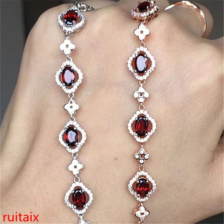 KJJEAXCMY bijoux fins 925 pur argent incrusté pierre naturelle de grenade pierre femmes bracelet bijoux mode. mkoiu