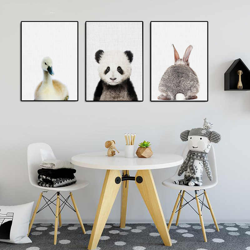 Sheep Panda Deer Animal Poster Print Canvas Painting Nursery Wall Art Picture Children Bedroom Nordic Decoration Picture