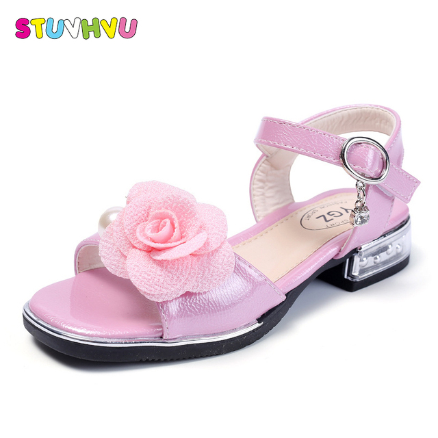 27d340921b71d0 Girls fashion sandals children shoes with rose flower princess high heels  non-slip leather child