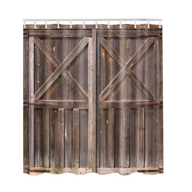 Rustic Shower Curtain By Old Wooden Barn Door Of Farmhouse Oak