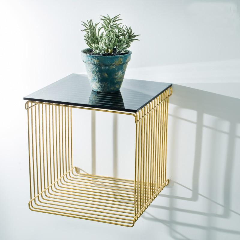modern design wall mounted gold color metal steel loft living room side table fashion glass. Black Bedroom Furniture Sets. Home Design Ideas