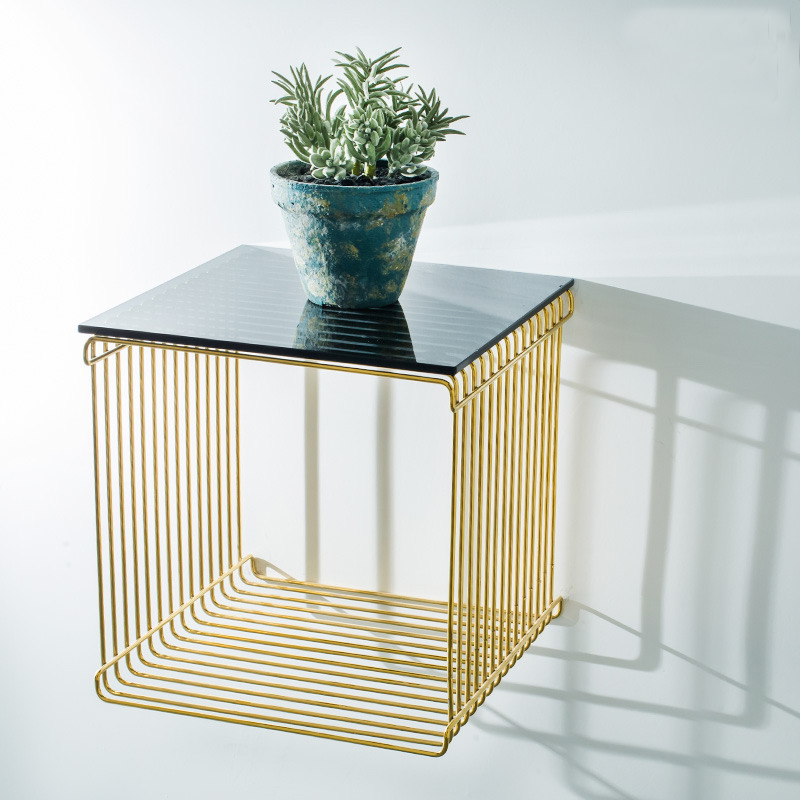 Modern design wall mounted gold color metal steel loft - Metal side tables for living room ...