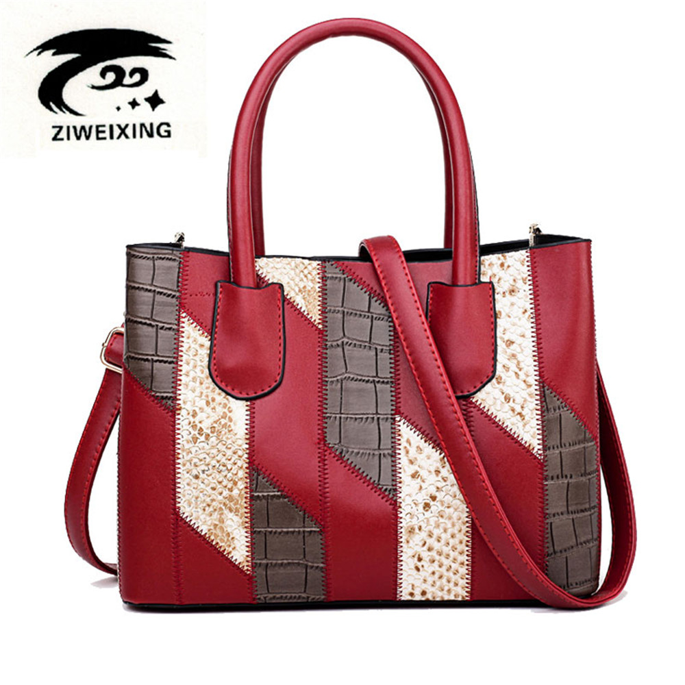 Fashion Stone Pattern Leather Woman Handbag High Quality Women Messenger Bag Patchwork Ladies Shoulder Bags Sac Main Female Bags pu high quality leather women handbag famouse brand shoulder bags for women messenger bag ladies crossbody female sac a main