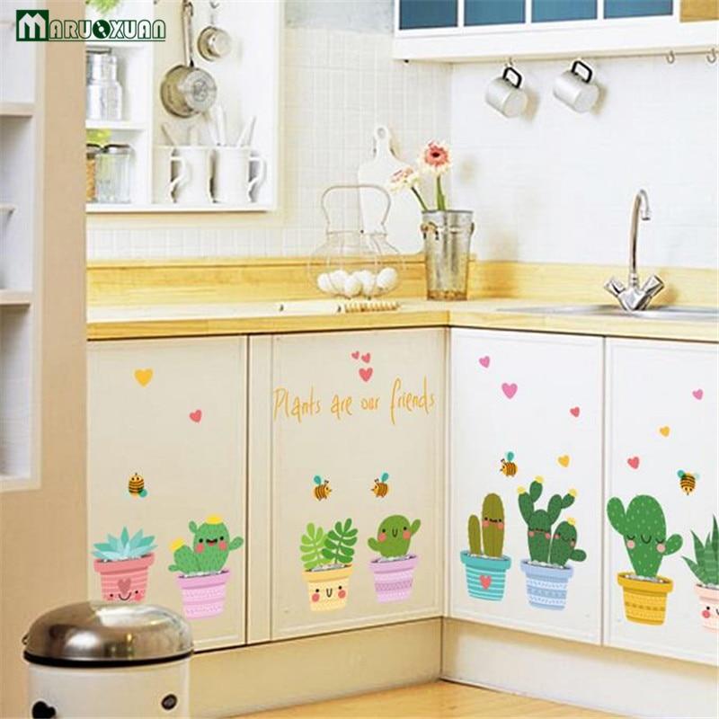 Yunxi creativo plantas Adhesivos gabinetes cocina Puertas y Ventanas ...