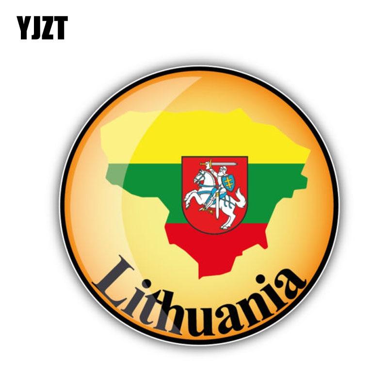 YJZT 13CM*13CM Car Sticker Lithuania Map Flag Decal Car Window Body Accessories 6-1326