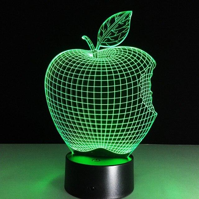 Elegant Apple Fruit Shape LED Night Light Novelty Lamp Changing Colors Xmas Home  Decor Great Gift For