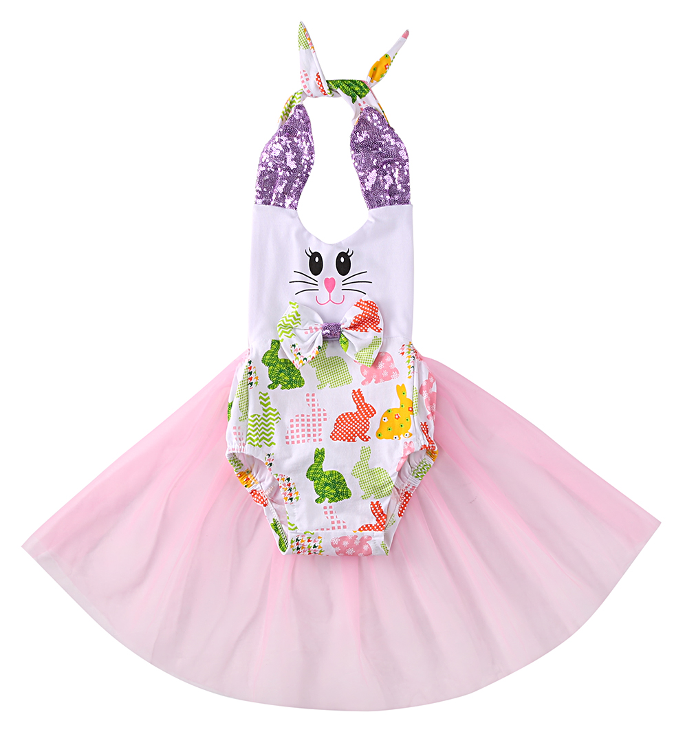 Baby Girl Romper Cute Newborn Infant Baby Girls Bunny Sleevless Romper Tulle Dresses One-piece Sunsuit Summer Baby Clothes 2pcs cute newborn baby girl clothes 2017 summer solid color ruffles baby romper bunny hat outfits sunsuit kids clothing 0 24m