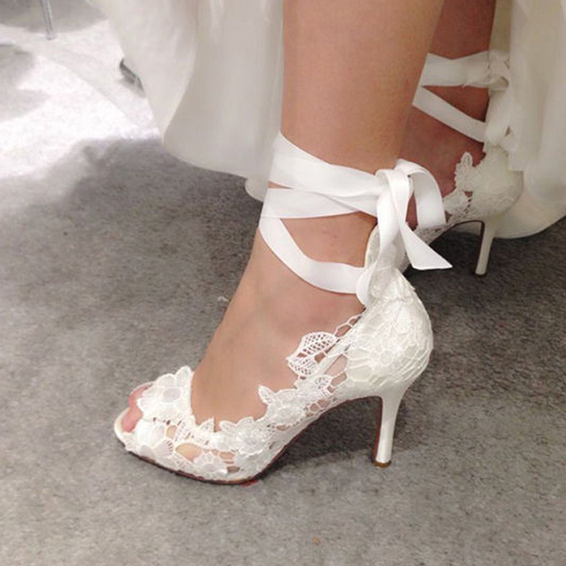 2c4c47dafed Promotion White high heel Lace Flower bridal wedding shoes Flower Lady Peep  Toe Shoes for Wedding Graduation Party Prom Shoes