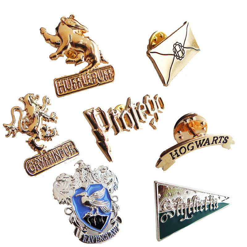 Hogwarts Potter Brooch Insignia The School Witchcraft And Wizardry Badge HP Pin Horcruxes Deathly Fashion Jewelry Gift