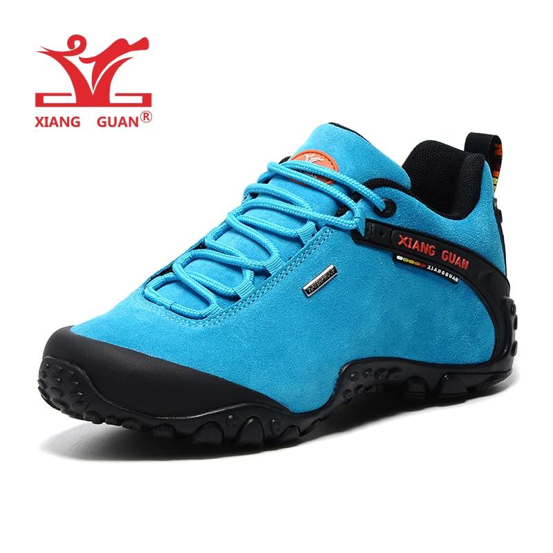 XIANG GUAN Woman Hiking Shoes Women Suede Athletic Trekking Boots Blue Zapatillas Sports Climbing Shoe Outdoor