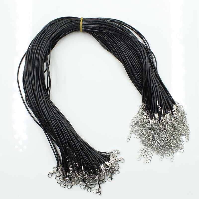 10Pcs Real Handmade Leather Adjustable Braided Rope Necklaces & Pendant Charms Findings Lobster Clasp String Cord
