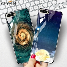 Vanveet Glass Case For Honor 7c Coque Huawei Y6 Y7 Prime 2018 Pro Honor7C Painted Cover Back Bag