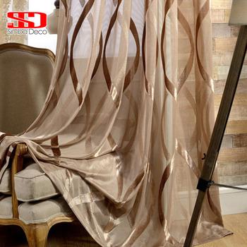 Białe błyszczące tiulowe zasłony do salonu faliste paski Sheer zasłony nowoczesne solidne dekoracje balkon woal zabiegi okienne tanie i dobre opinie simba deco Translucidus (Stopa Cieniowanie 41 -85 ) Tulle Lewy i prawy biparting otwarta Okno Montaż sufitowy Curtain S1