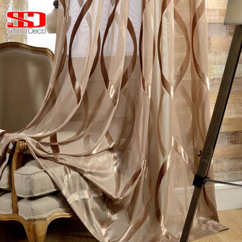 Nuevo blanco tul brillante cortinas rayas onduladas translúcido decoración balcón estilo moderno Simple de pura tratamientos de ventana