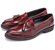 Fashion black loafers dress shoes mens wedding shoes genuine leather office shoes business shoes