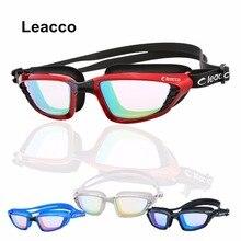 Leacco new silicone Waterproof hd Glasses Men Women Electroplate Anti-fog UV Swimming Goggles Big box Integrated Eyeglasses