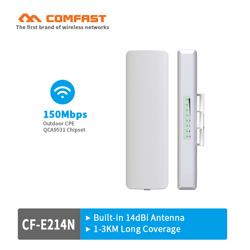 1-2KM 150Mbps 2.4ghz Outdoor WIFI CPE COMFAST CF-E214N CPE Wireless WIFI Repeater Long Range AP Router CPE Bridge Client Router arderia cpe 25 5a