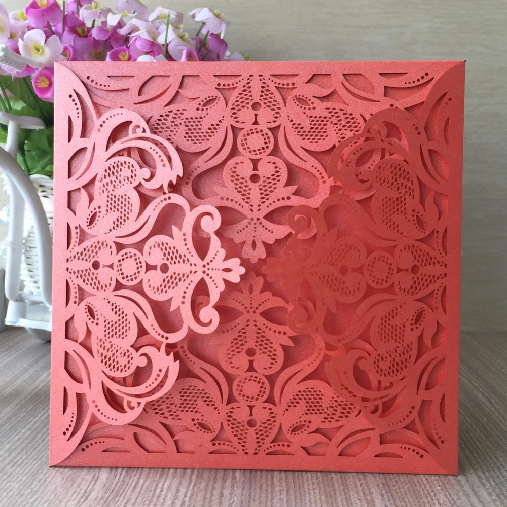 50Pcs/lot orange laser cut wedding invitation card,high grade ...