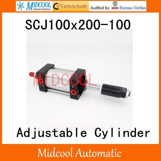 SCJ100x200-100 cylindre pneumatique standard 100mm course réglable cylindre pneumatique tige unique 100mm alésage 200mm course