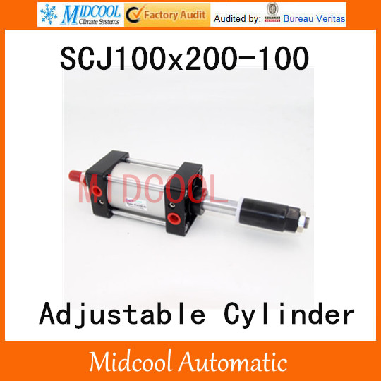 SCJ100x200-100 standard air cylinder 100mm adjustable stroke pneumatic cylinder single rod 100mm bore 200mm stroke 16mm x 100mm single rod pneumatic cylinder w clear 6mmx4mm pu tube