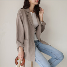 Korea Style women blazers and jackets Summer New Linen Butto