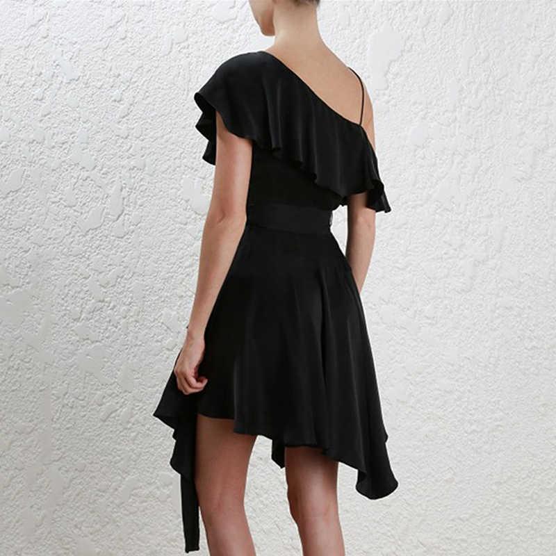 מקסימום Spri 2019 חדש אופנה כבוי כתף V מחשוף Sashes לפרוע נשים מסיבת אונליין Midi סקסי שמלה שחור