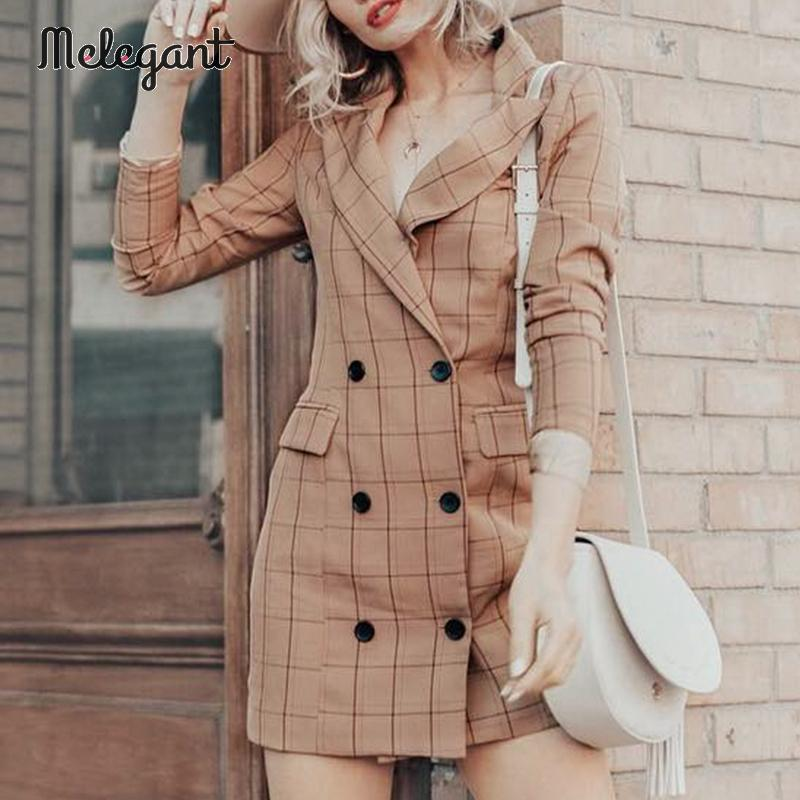 Melegant Casual Button Women Blazer Dress Autumn Winter 2019 Blazers High Fashion Plaid Sexy Blazers Coat