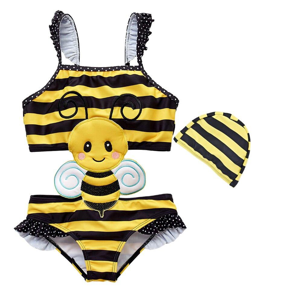 2019 New Baby Girl Swimwear with Swim Hats Cartoon Swimsuit Swimming Beach Bathing Bikini Cute Summer One piece Swimming Costume in Overalls from Mother Kids