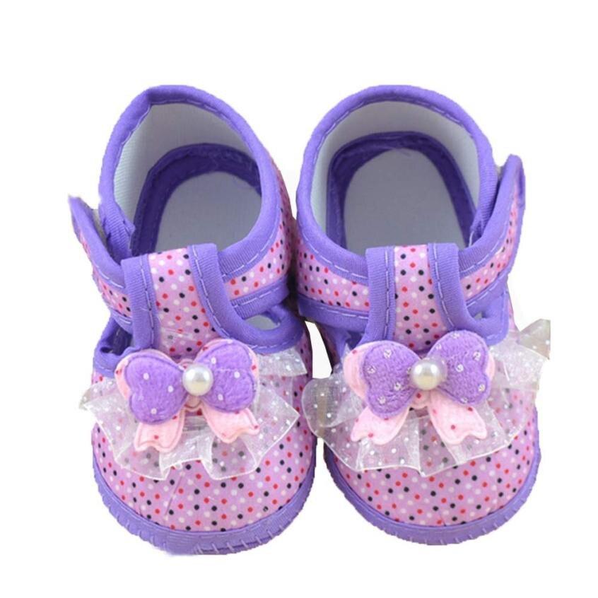 Baby Girls Shoes Bowknot Todder pre-walker Dots Printing Soft Crib Shoes Sapato Bebe Menina #7901