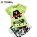 Мальчиков установить 4-24 Месяцев 2017 Лето одежда для Новорожденных наборы короткие рукава О-Образным Вырезом футболка + брюки одежда для Новорожденных наборы для Мальчиков одежда