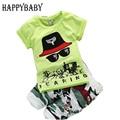 Meninos definir 4-24 Meses do bebê 2017 conjuntos de roupas de Bebê Verão mangas curtas O Pescoço da camisa de t + calças conjuntos de roupas Recém-nascidos Meninos roupas