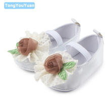 New Arrival Beautiful Flower Design Anti Slip Fancy Leather Baby Dress Shoes For Girls 0 15