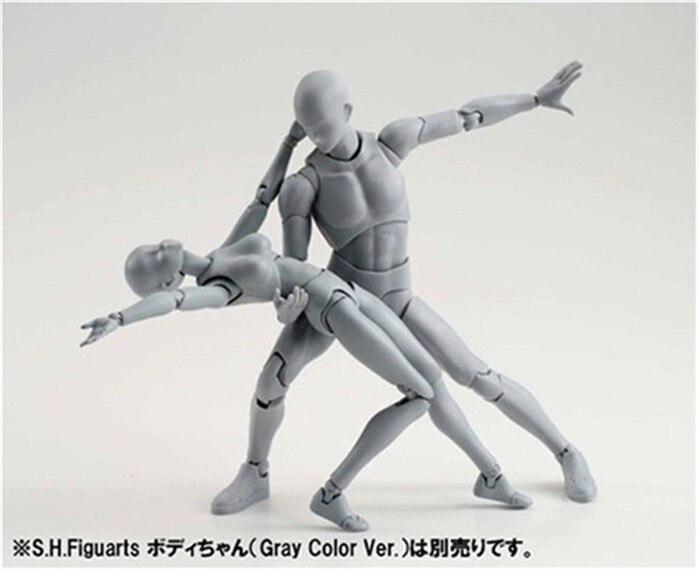SHFiguarts BODY KUN / BODY CHAN body-chan body-kun Grey Color Ver. <font><b>Black</b></font> PVC <font><b>Action</b></font> <font><b>Figure</b></font> Collectible Model Toy