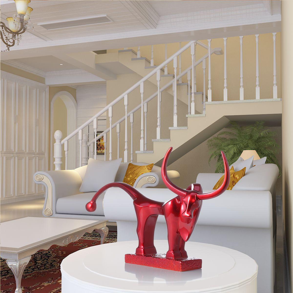 Cattle Modern Sculpture Long Tail Cattle Resin Sculpture Fiberglass Exaggerate Modern Art Ornament Indoor Decor Statue